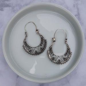 Sterling silver boho style hoops